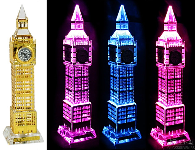 Medium Gold Plated Crystal Big Ben Clock with Colour Changing Lights