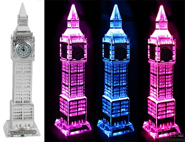 Medium Silver Plated Crystal Big Ben Clock with Colour Changing Lights