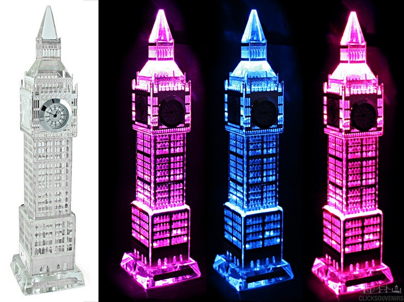 Silver Plated Crystal Big Ben Clock with Colour Changing Lights