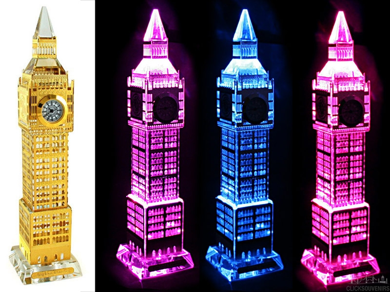 Gold Plated Crystal Big Ben Clock with Colour Changing Lights