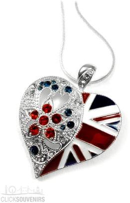 Union Jack Heart Necklace Souvenir