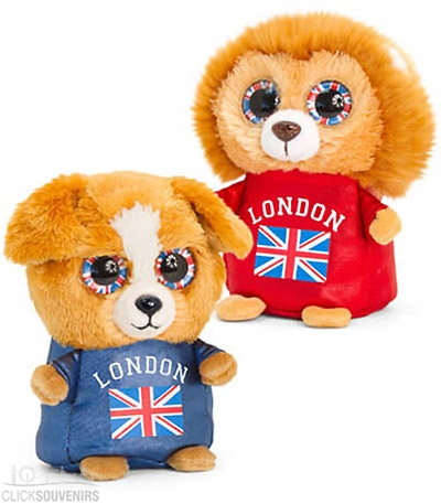10cm London Souvenir Union Jack Animotsu Lion