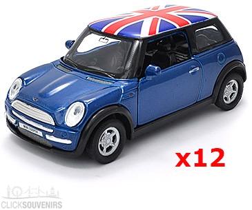 12x Blue Union Jack Mini Cooper Model Car UK
