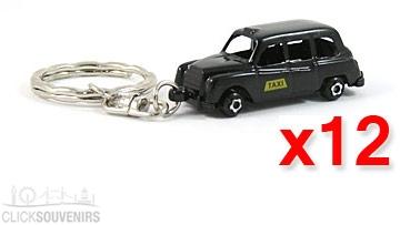 12x Die Cast Metal Taxi Keyrings