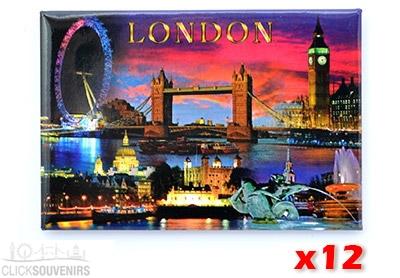 12x London City by Night Fridge Magnets