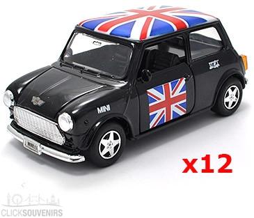 12x Pullback Black Union Jack Mini Cooper Model Cars