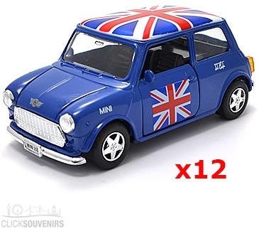 12x Pullback Blue Union Jack Mini Cooper Model Cars
