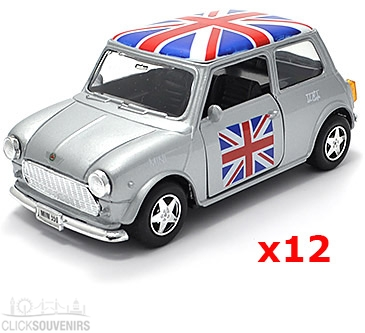 12x Pullback Silver Union Jack Mini Cooper Model Cars