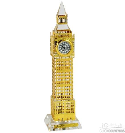 17cm Light Up Gold Plated Crystal Big Ben Clock