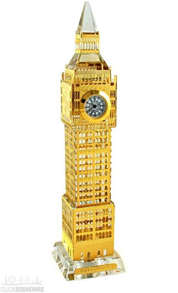 22cm Light Up Gold Plated Crystal Big Ben Clock