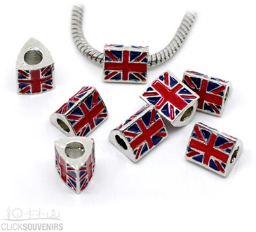 5x Union Jack Spacer Bead Charms