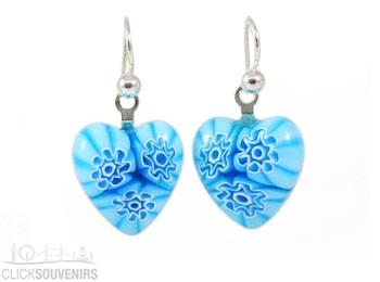 Aqua Flowers Millefiori Heart Charm Earrings