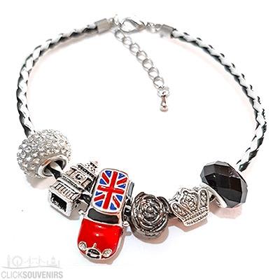 Black & White Union Jack Mini Cooper Charm Bracelet