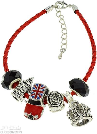 Red Charm Bracelet with Union Jack Mini Cooper