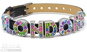 Black Multicoloured Rhinestone London Letters Bracelet