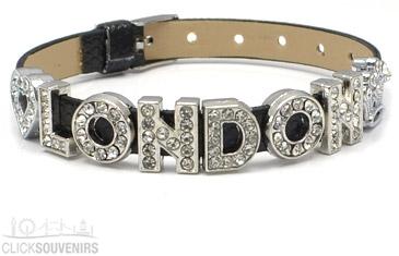 Black Diamante London Letters Bracelet