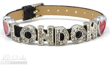 Black Glitter Love Diamante London Letters Bracelet