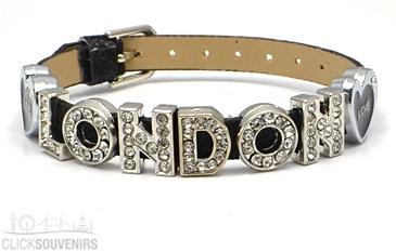 Black Love London Rhinestone Letters Bracelet