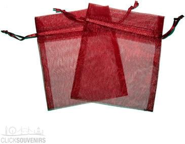 Burgundy Organza Gift Bag 9 x 7cm