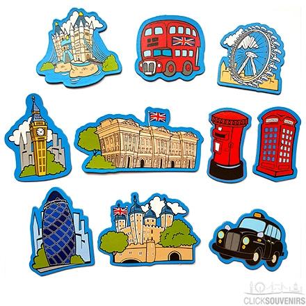 Set of 10 Cartoon London Souvenir Magnets