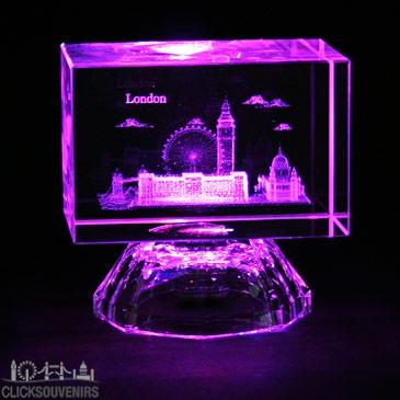 Colour Changing Light Up London Laser Art Crystal