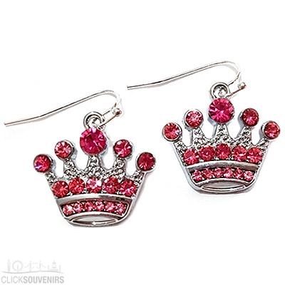 Pink Diamante Crown Earrings