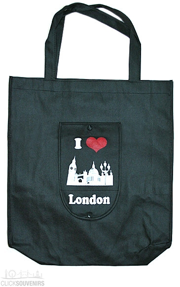 Black Folding London Shopping Bag