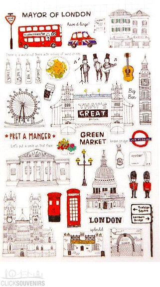 Funny London City Lifestyle PVC Sticker Gift Set