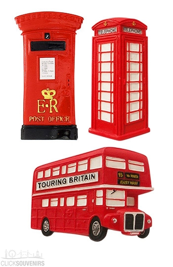 Gift Set of 3 London Souvenir Fridge Magnets