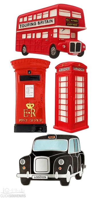 Gift Set of 4 British Classics Fridge Magnets