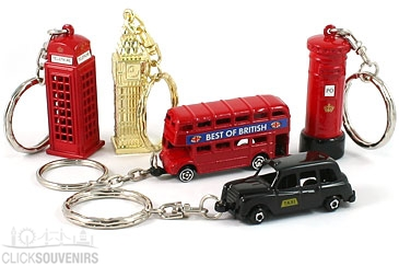 Gift Set of Five Metal Iconic London Keyrings