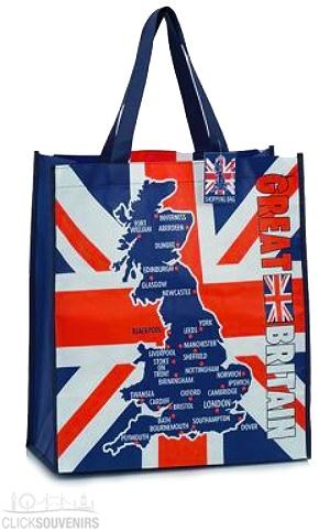Great Britain Map Souvenir Shopping Bag