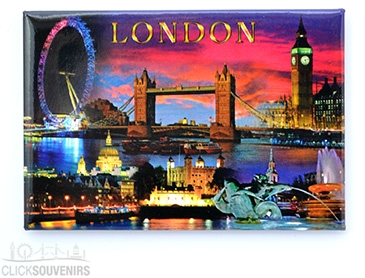 London Landmarks by Night Picture Magnet
