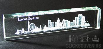 Large Laser Art Crystal London Skyline Paperweight