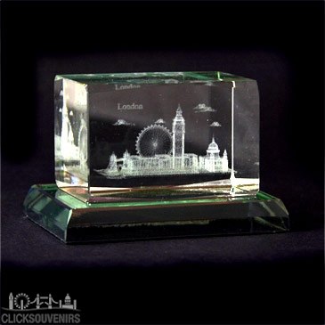 London Multiscene Crystal with Glass Base 3 x 4.5cm