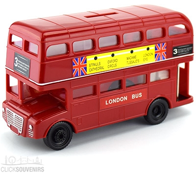 Large Red Double Decker Bus Money Box