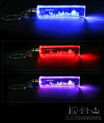 Light Up London Skyline Laser Crystal Keyring