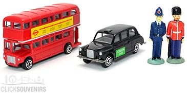 Diecast Metal Bus and Taxi Model Gift Set