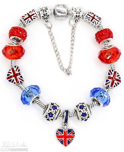 London Bracelet with Union Jack Bus Charms