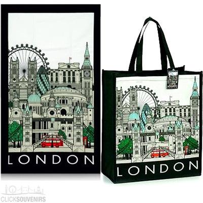 London Cityscape Shopping Bag and Tea Towel Gift Set