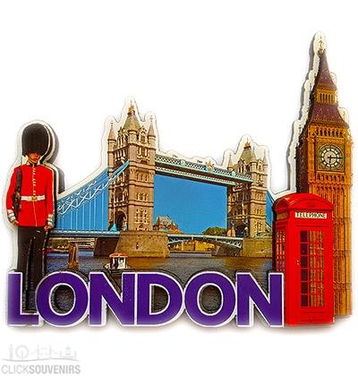 Wooden London Collage Fridge Magnet