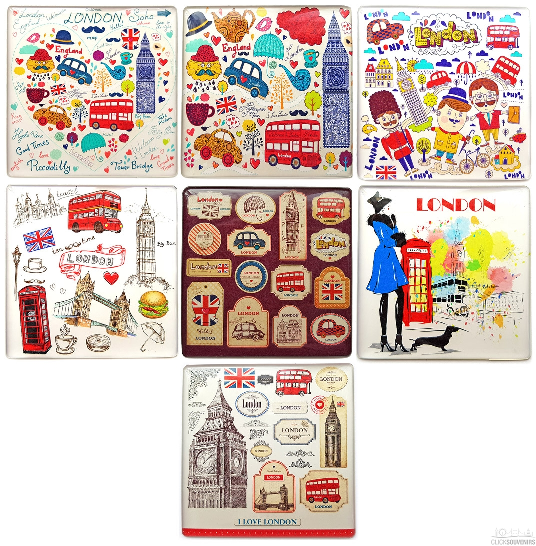 London Illustrations Square Magnet