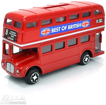 Diecast Metal Red Double Decker Bus Money Box