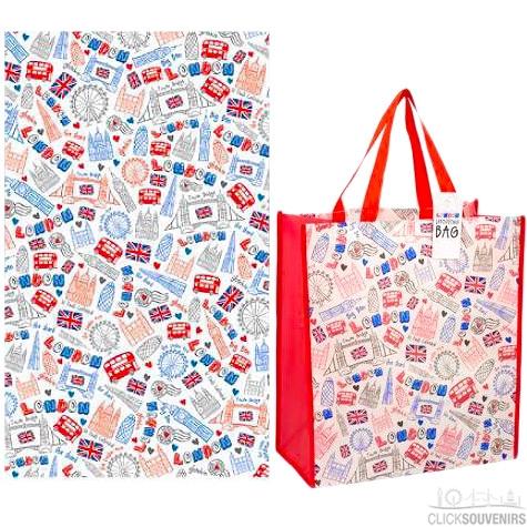 London Souvenir Tea Towel and Shopping Bag