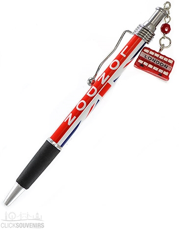 Union Jack Ballpoint Pen with Red Bus Charm