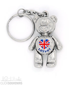 Metal London Teddy Bear Keyring