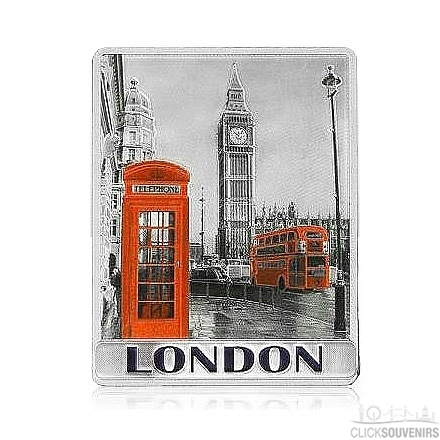 Big Ben, Red Bus and Phone Box Foil London Picture Magnet