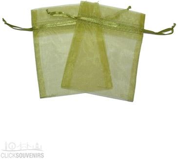 Moss Green Organza Gift Bag 9 x 7cm