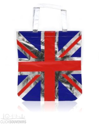 Metallic Silver Union Jack Shopping Bag