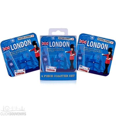 Pack of Four London Scrapbook Coasters